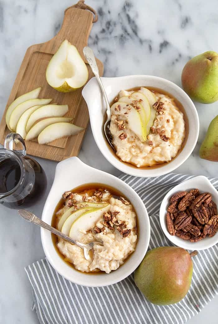 Pear Rice Pudding with maple and candied pecans