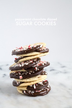Peppermint Chocolate Dipped Sugar Cookies