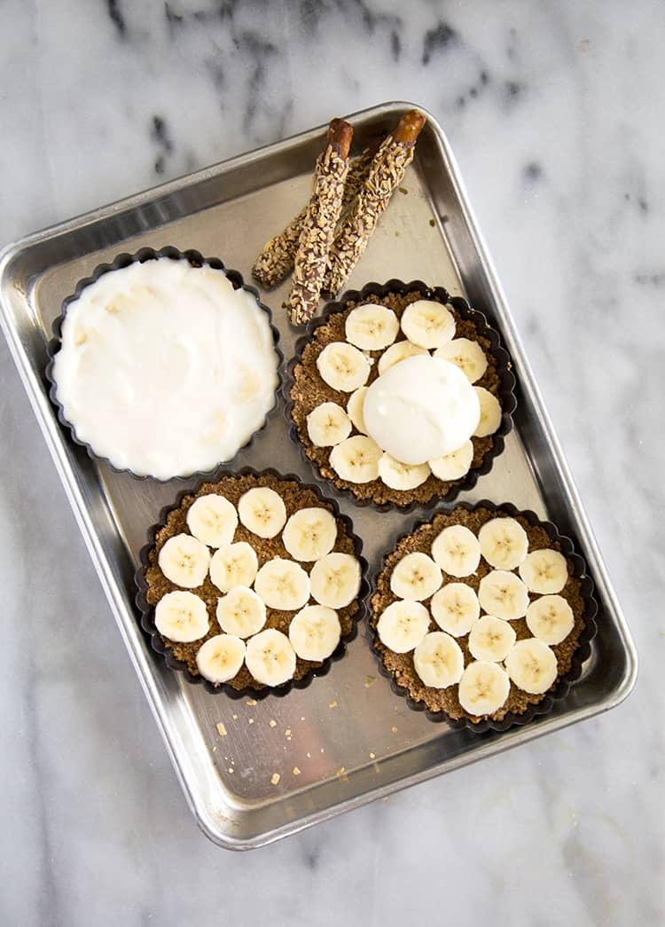 Banana Coconut Pretzel Tart