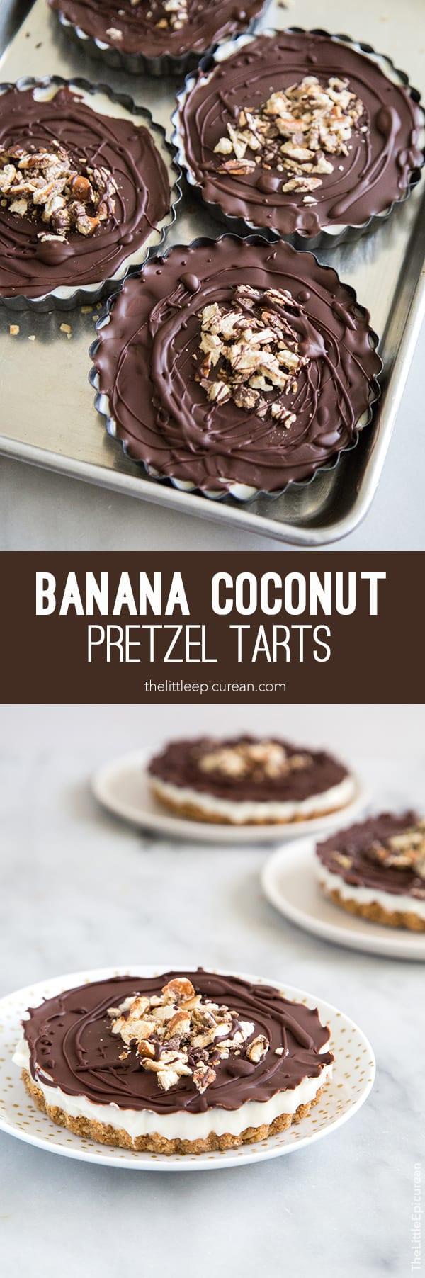 No Bake Banana Coconut Pretzel Tarts