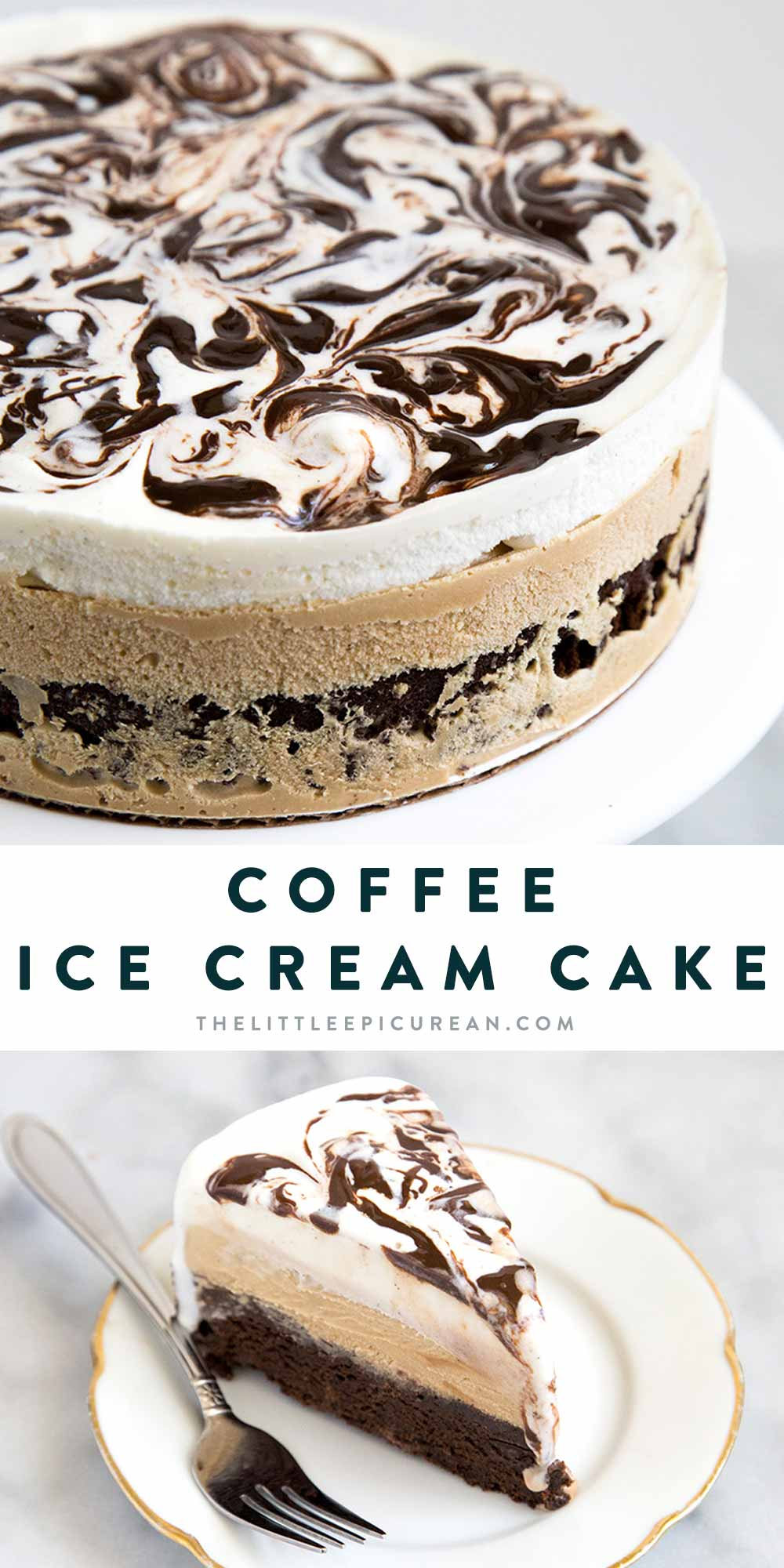 Coffee Ice Cream Cake. This decadent dessert starts with a brownie layer, followed by coffee ice cream and a layer of vanilla ice cream swirled with fudge