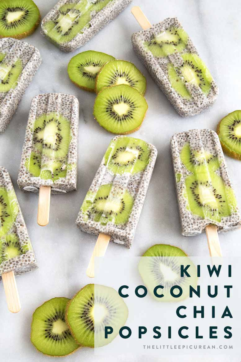 Kiwi slices floating among a sea of coconut chia pudding. These kiwi coconut chia popsicles are a satisfying anytime treat!