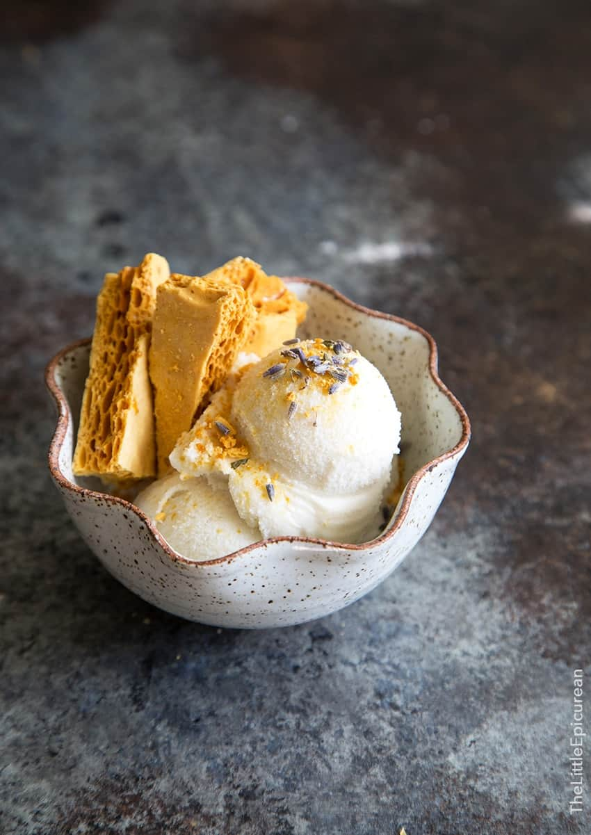 Lavender Ice Cream with Honeycomb Toffee