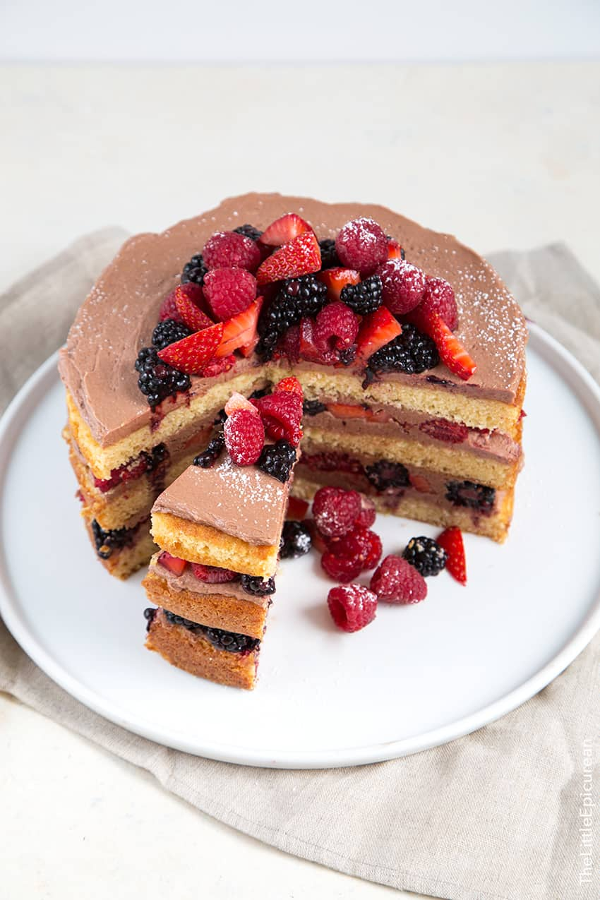 Chocolate Malt Berry Cake - The Little Epicurean