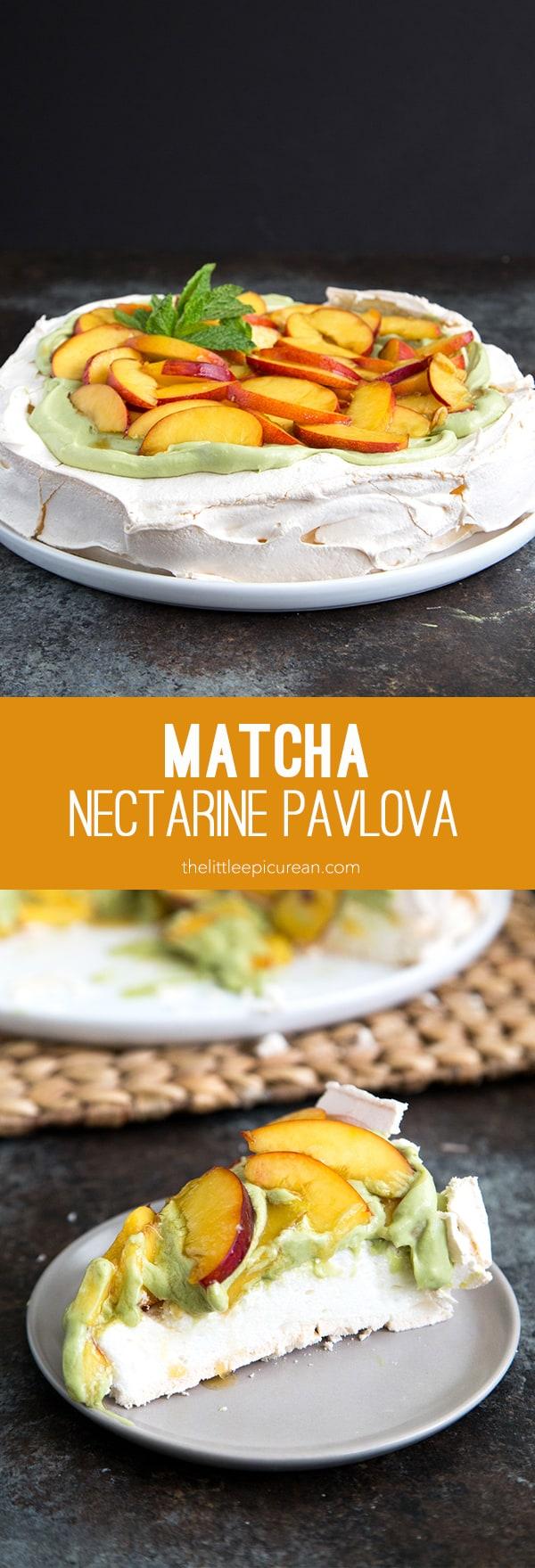 Matcha Nectarine Pavlova