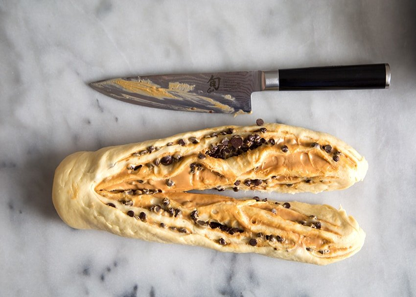 Peanut Butter Chocolate Chip Twisted Swirl Bread