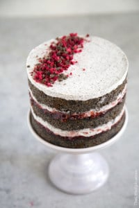 Raspberry Black Sesame Cake