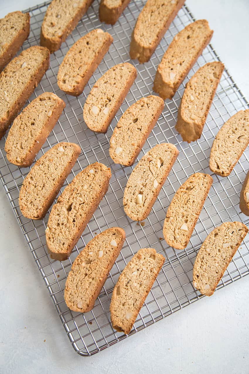 Tropical Biscotti with banana, coconut, and macadamia nuts