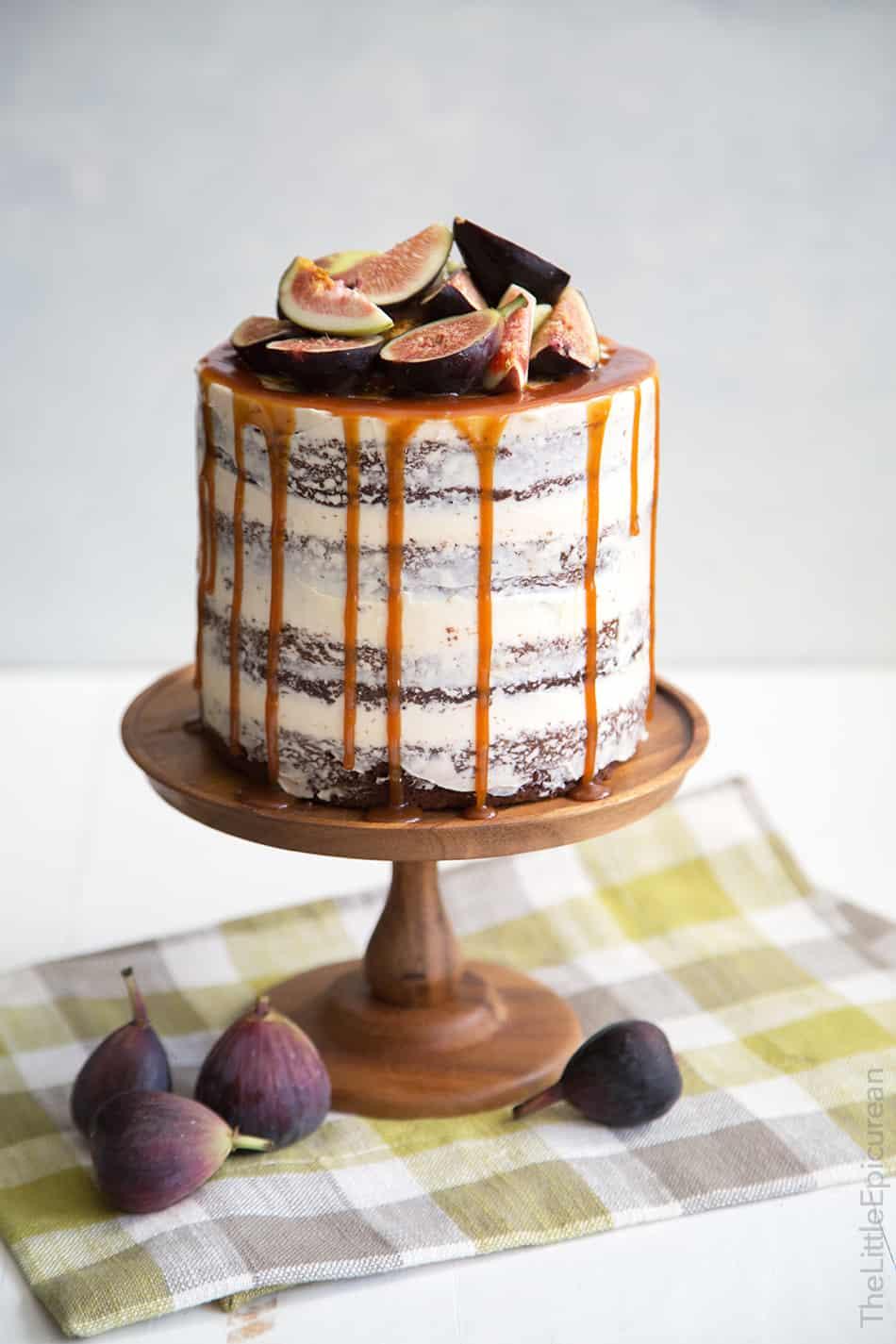 Caramel Fig Chocolate Cake: dark chocolate cake layered with fig jam ...