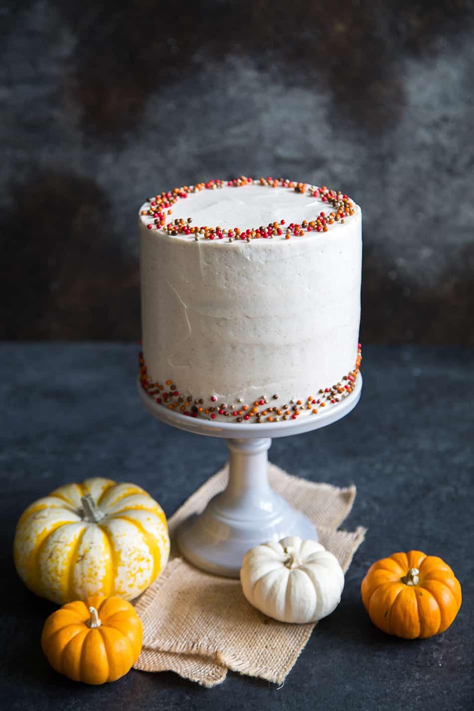 Cinnamon Maple Pumpkin Cake: four layers of moist pumpkin cake frosted ...