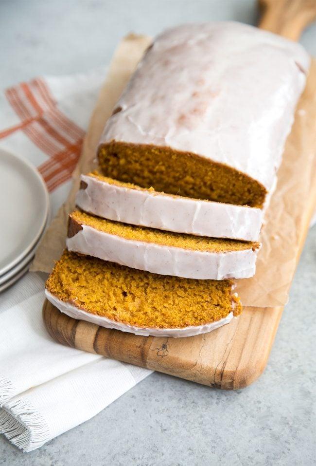 Pumpkin Bread with Eggnog Glaze