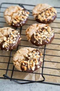 Chocolate Dipped Peanut Butter Crinkle Cookies