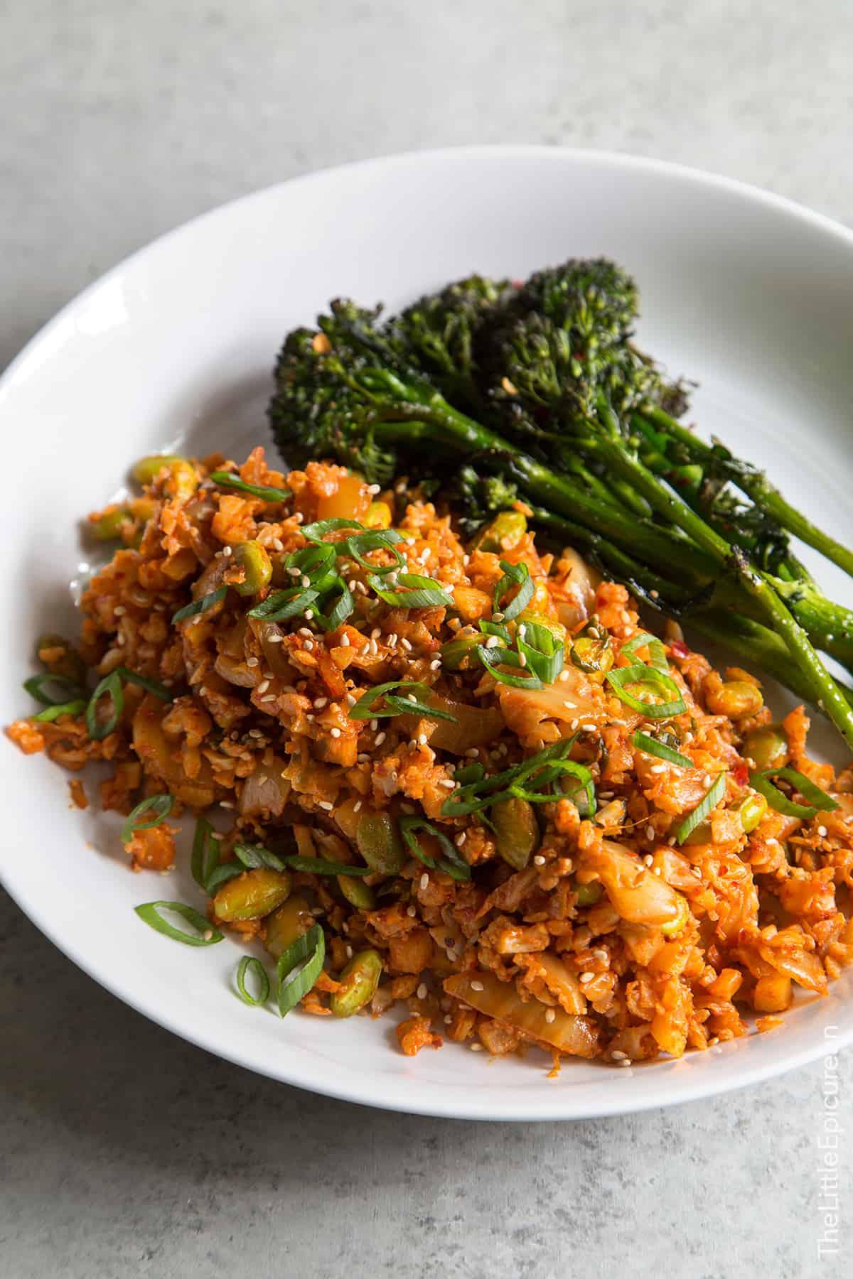 Baked Kimchi Cauliflower Rice