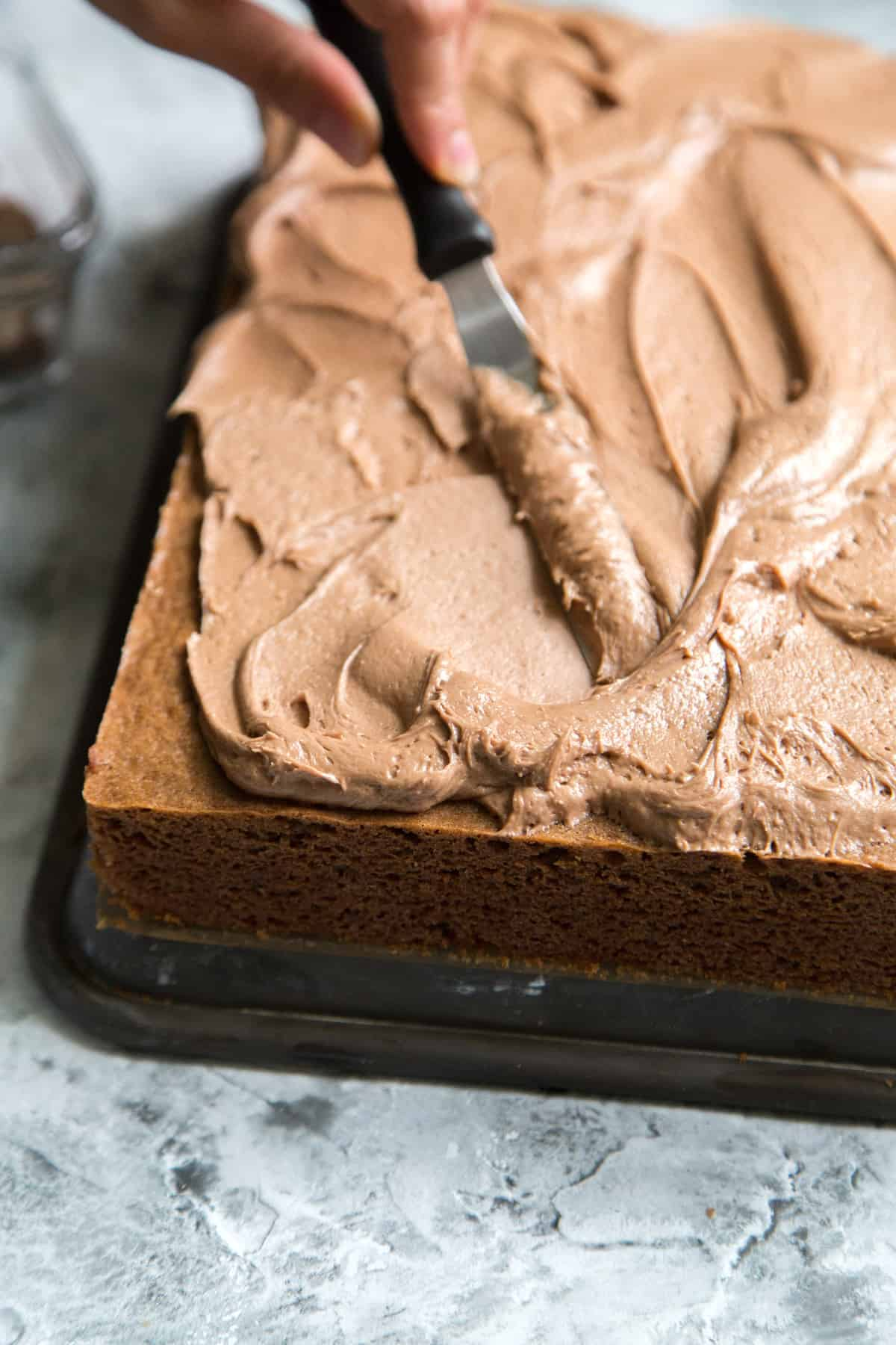 Chocolate Malt Sheet Cake - The Little Epicurean