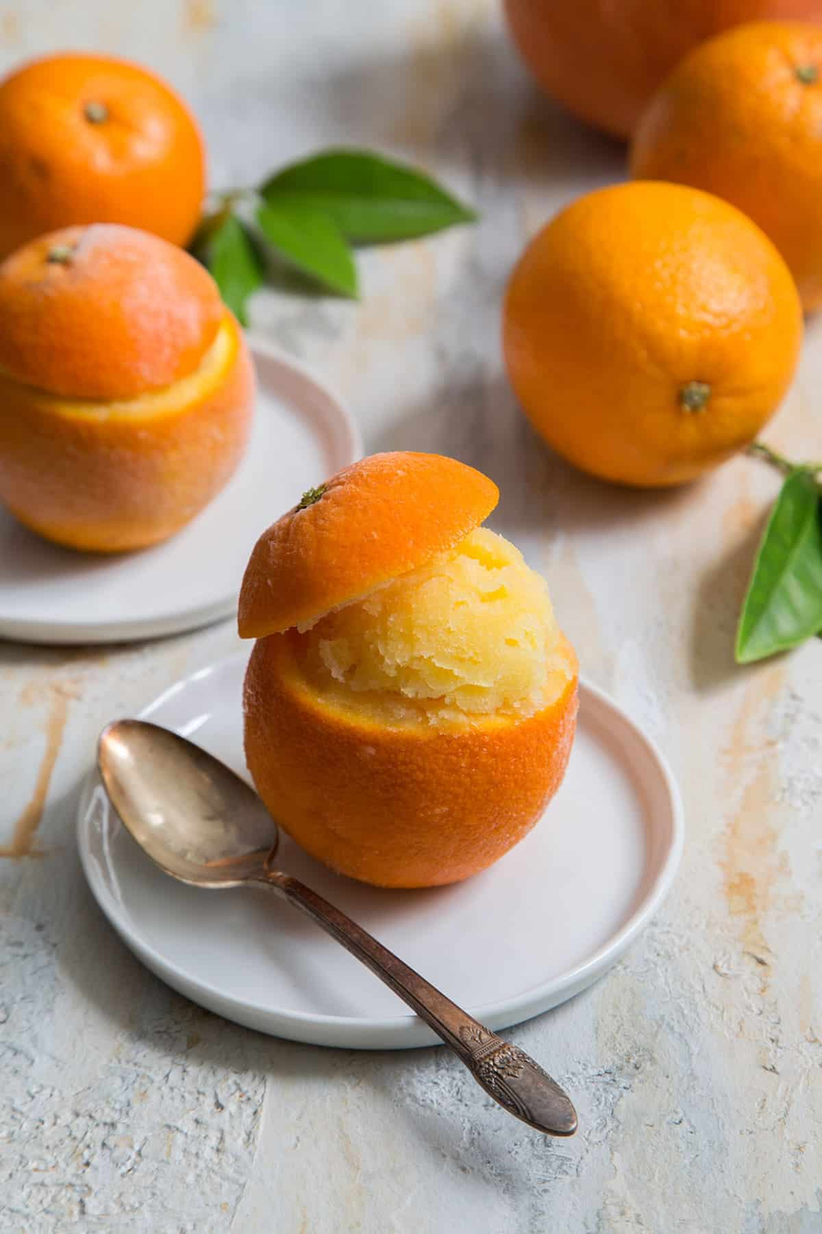 Orange Sorbet (served in orange cups)- The Little Epicurean