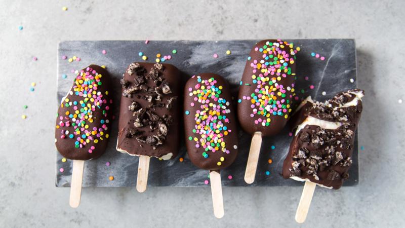 Funfetti Ice Cream Bars dipped in chocolate