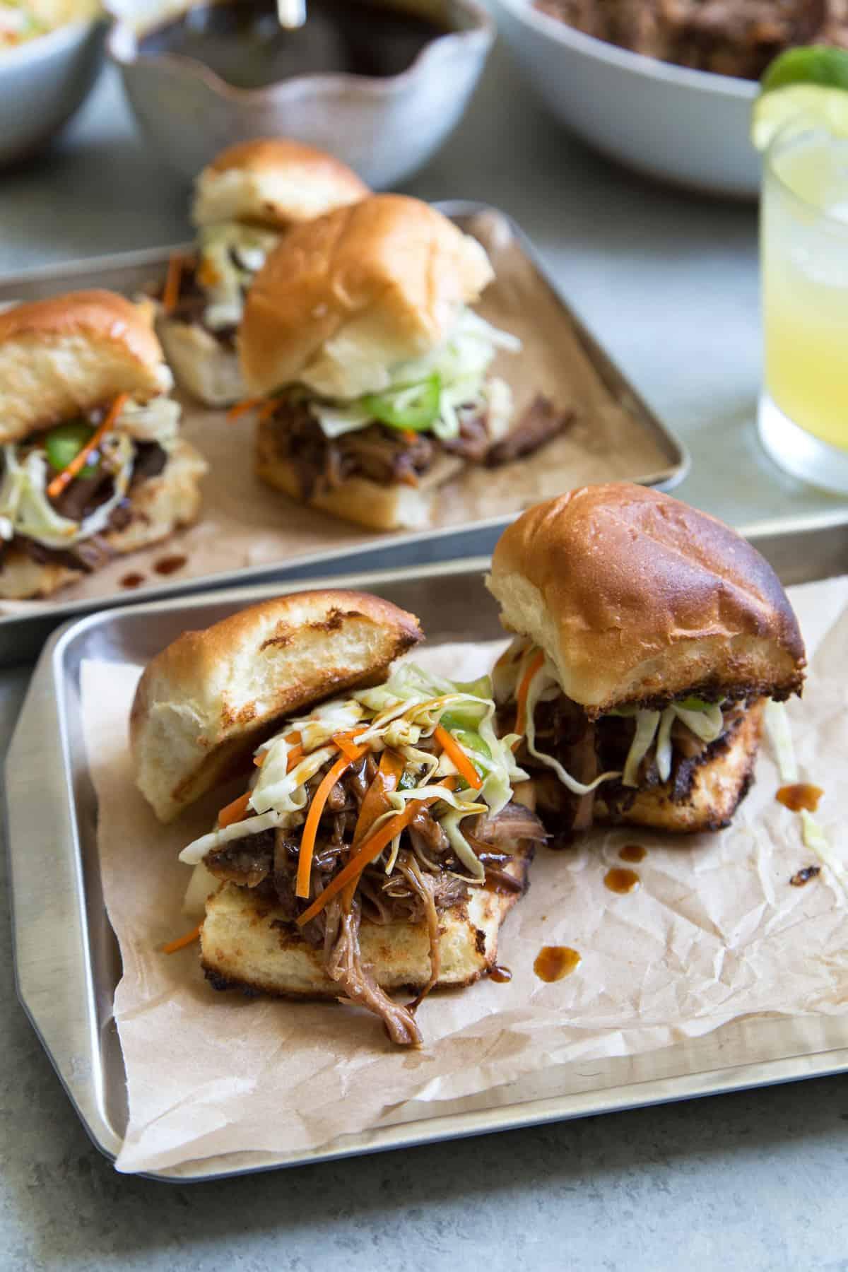 Shoyu Pulled Pork Sliders with Pineapple Slaw