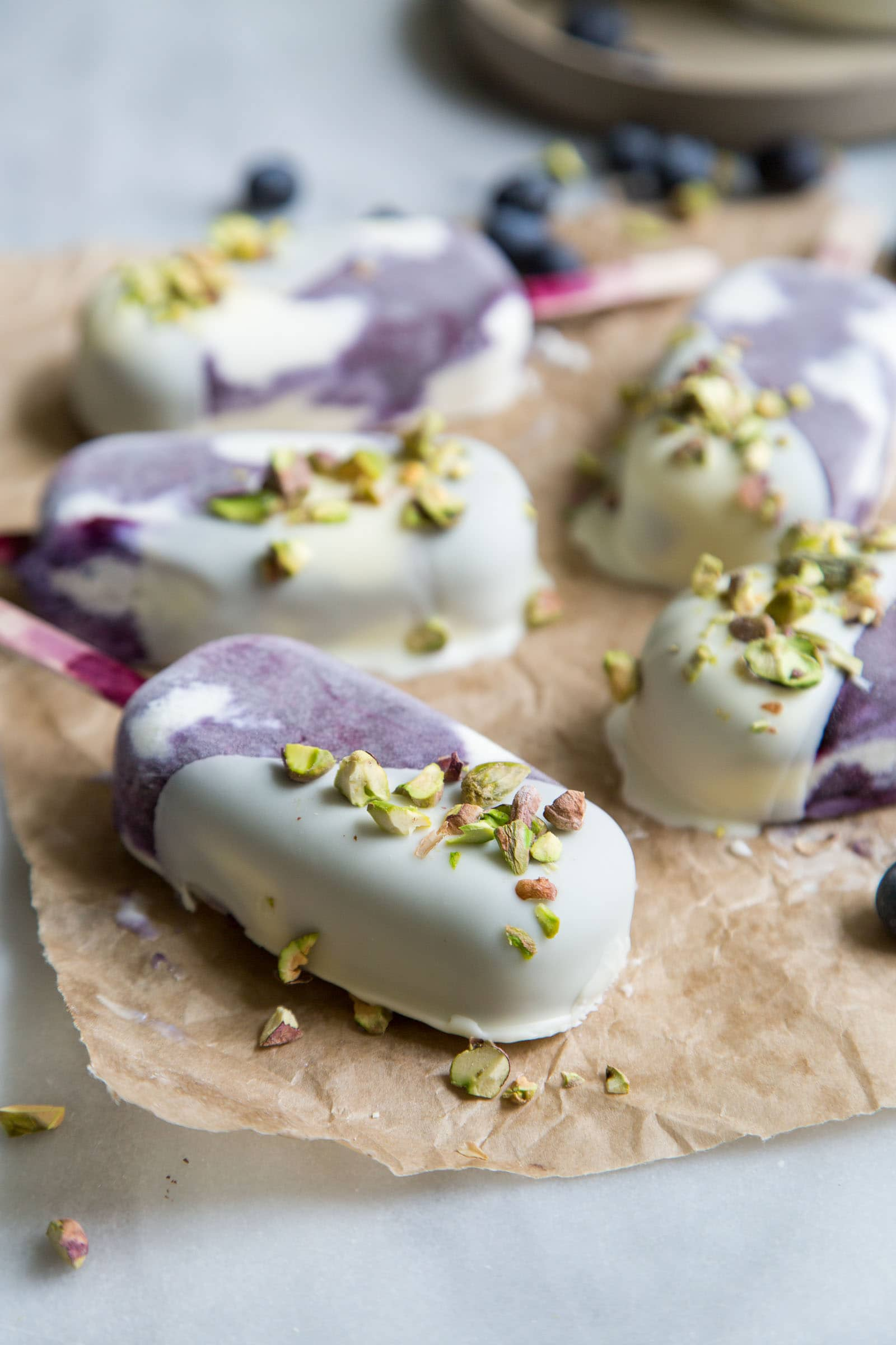 White Chocolate Blueberry Ice Cream Bars