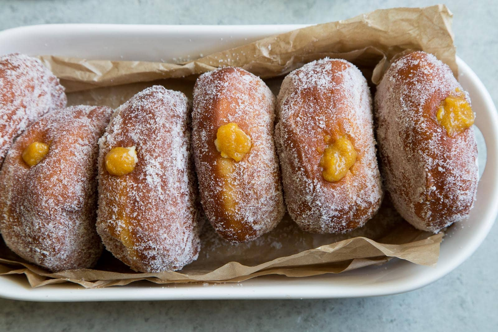 Peach Cream Filled Doughnuts