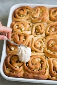Apple Cinnamon Rolls with spiced cream cheese