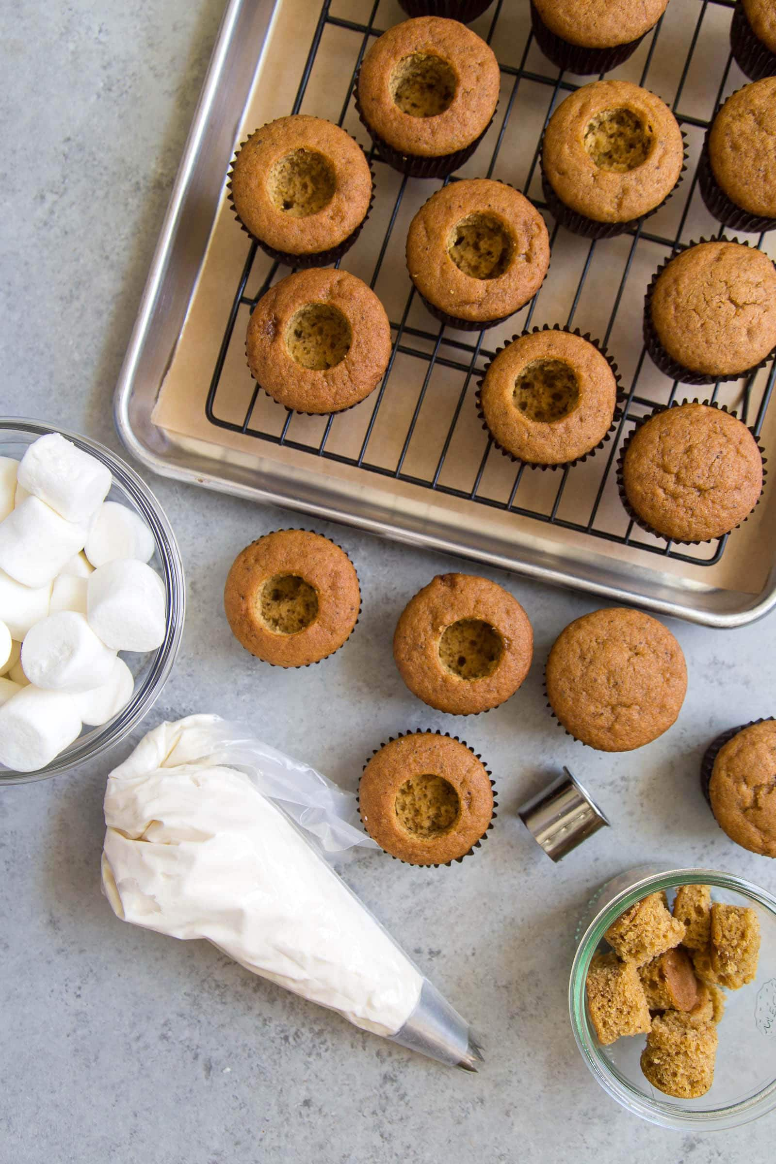 Butternut Squash Cupcakes with Toasted Marshmallow