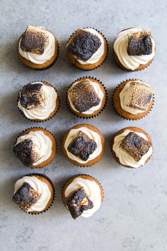 Butternut Squash Cupcakes with Maple Buttercream and Toasted Marshmallows