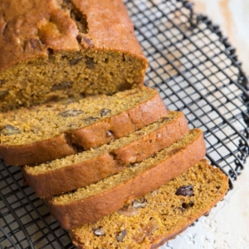 Banana Pumpkin Bread with figs and pecans