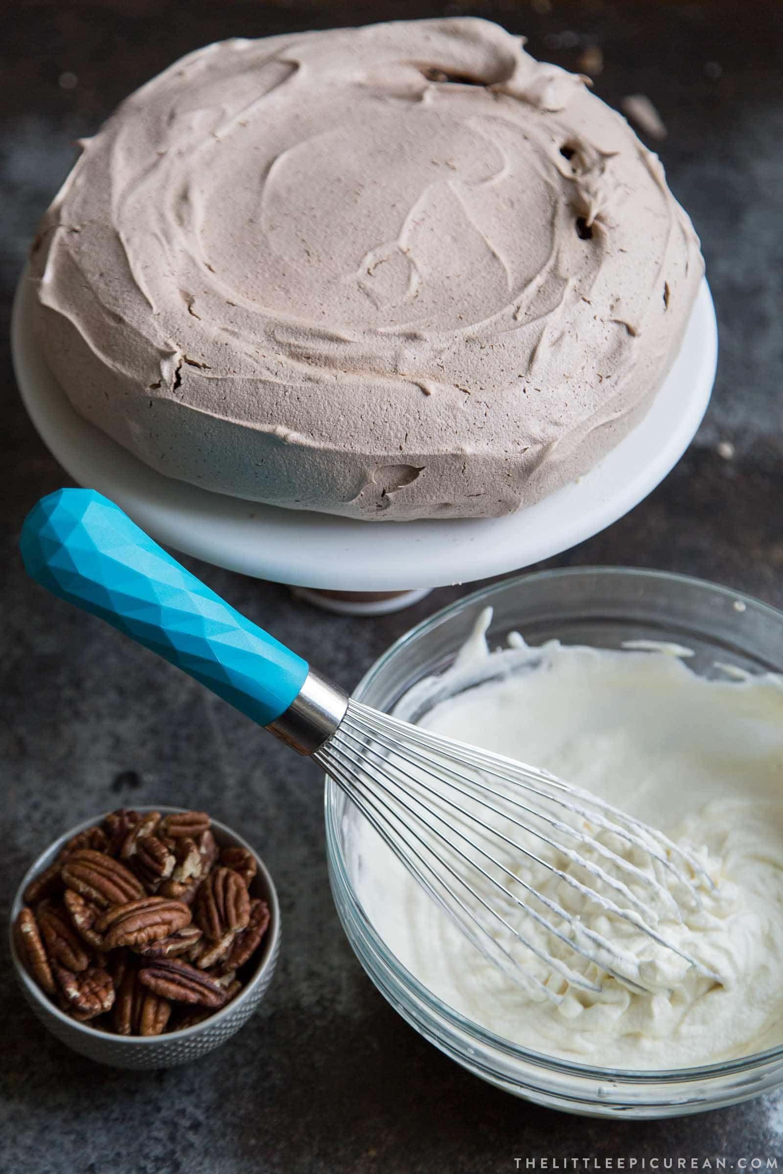 Chocolate Pavlova with maple and pecans