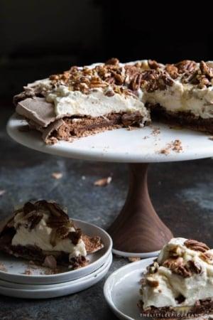 Chocolate Pavlova with maple and pecans
