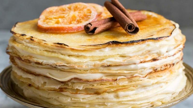 Orange Cinnamon Spiced Crepe Cake