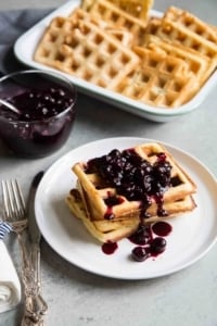 Buttermilk Waffles with Ginger Blueberry Sauce