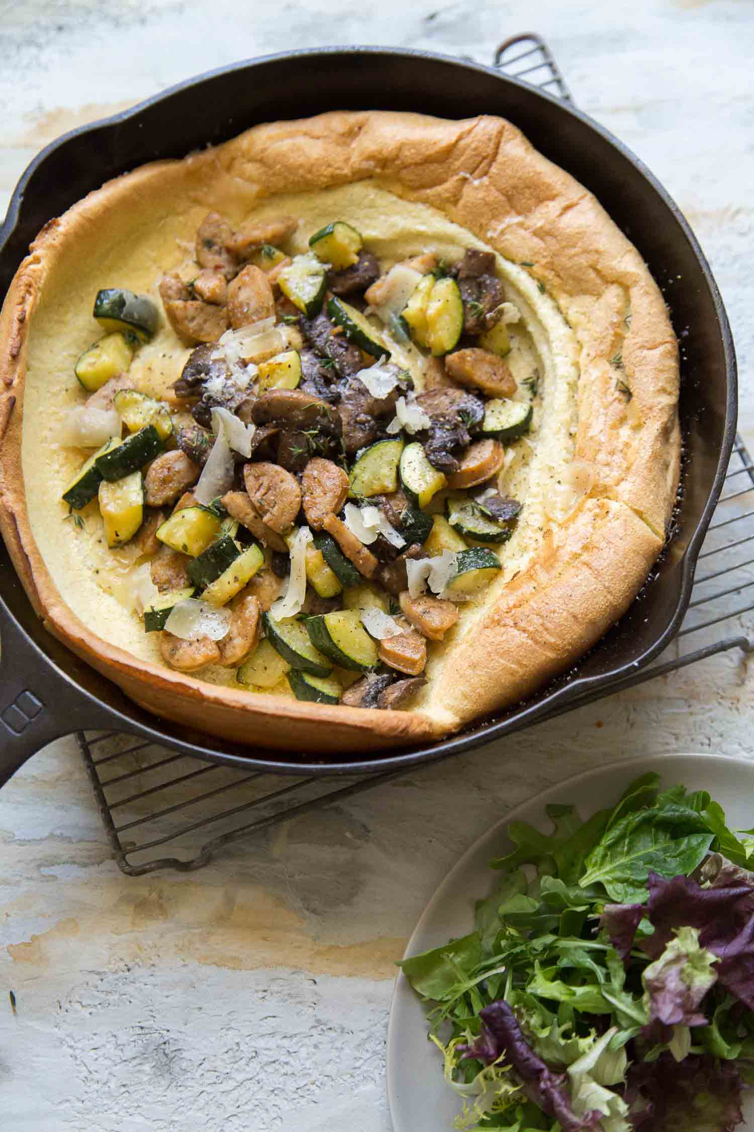 Savory Dutch Baby Pancake with veggies and sausage