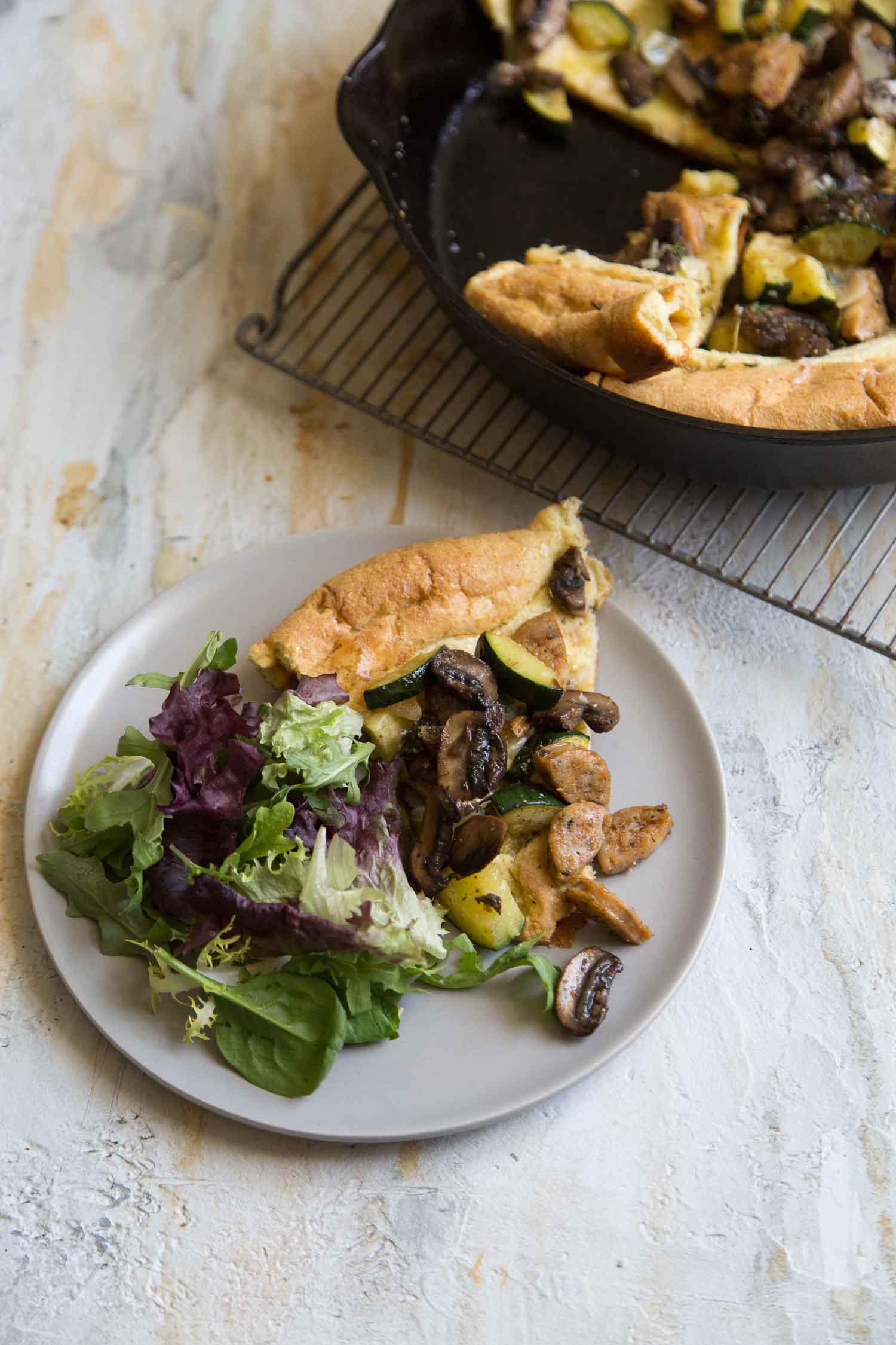 Savory Dutch Baby Pancake with veggies and sausage