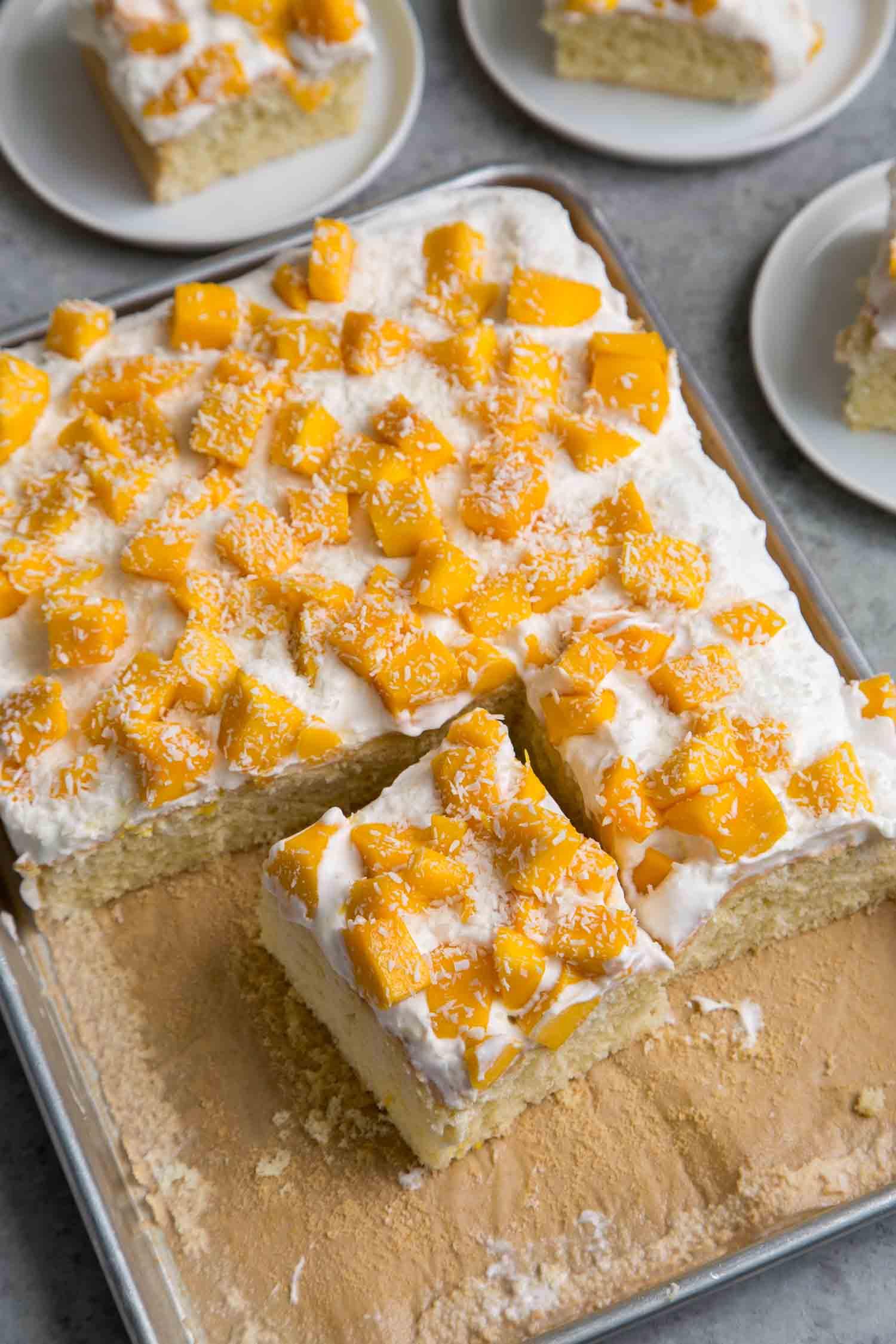 Mango Coconut Sheet Cake