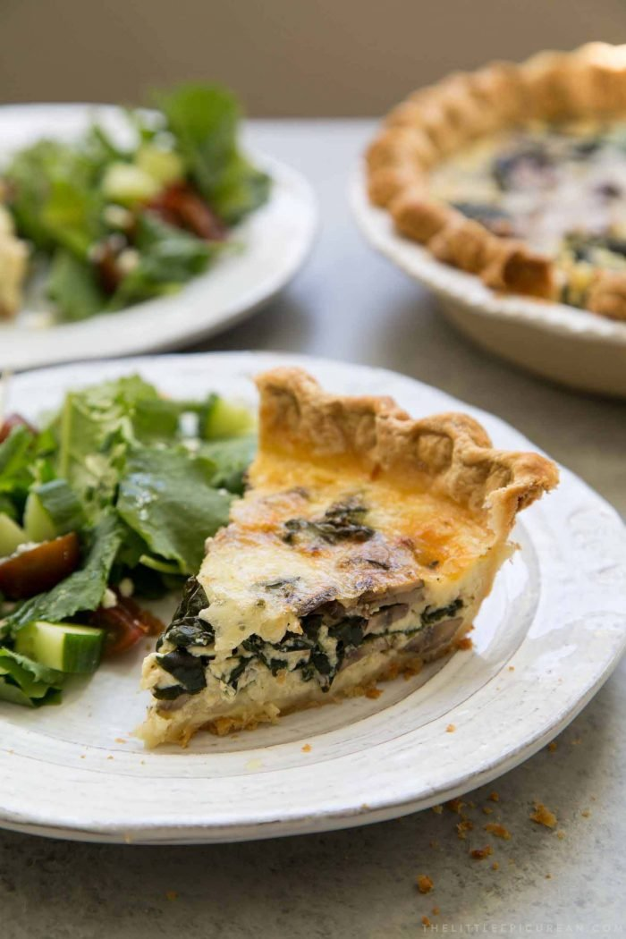 Mushroom Kale Quiche in homemade pie shell- The Little ...