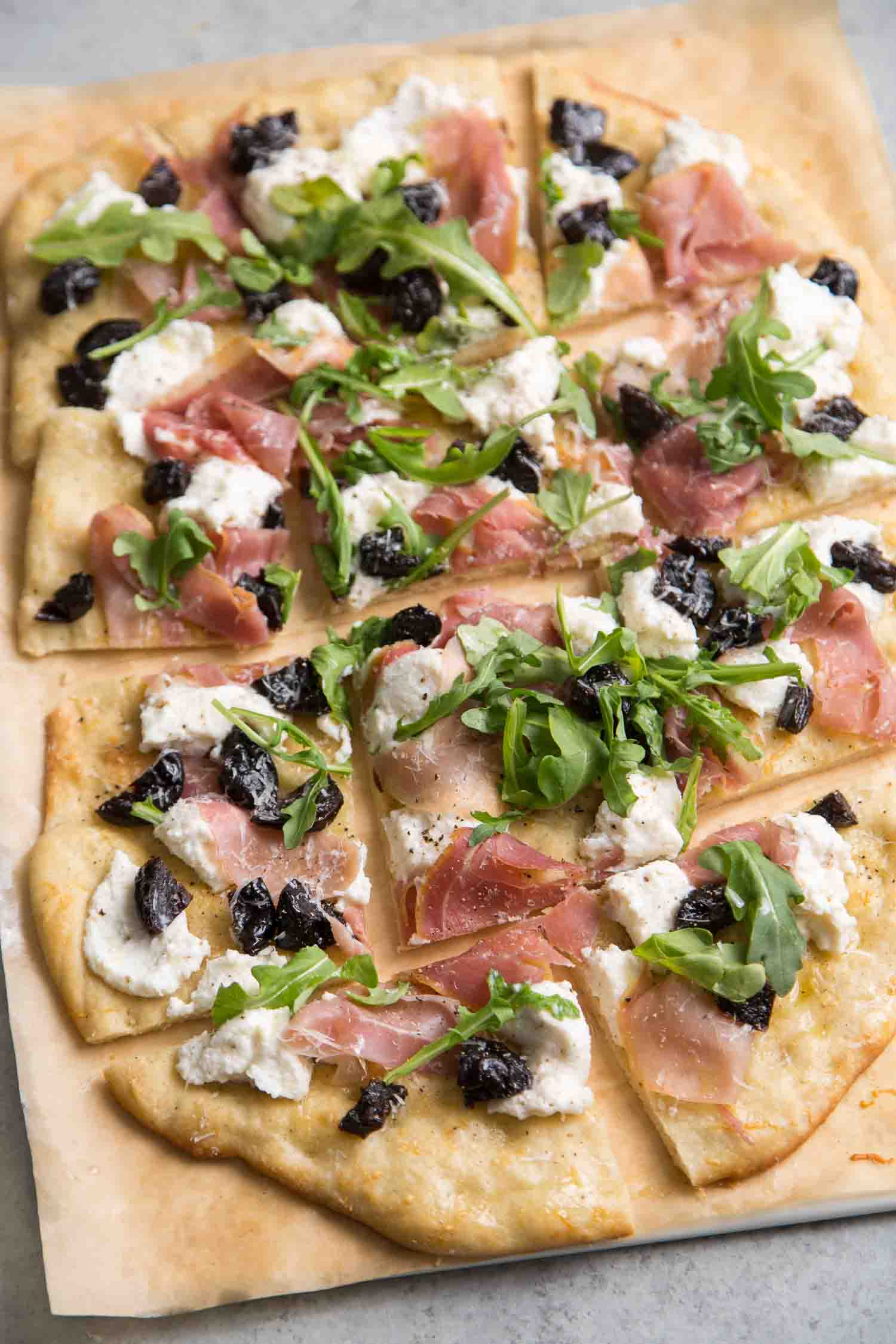Ricotta Flatbread with Prunes and Jamon Serrano
