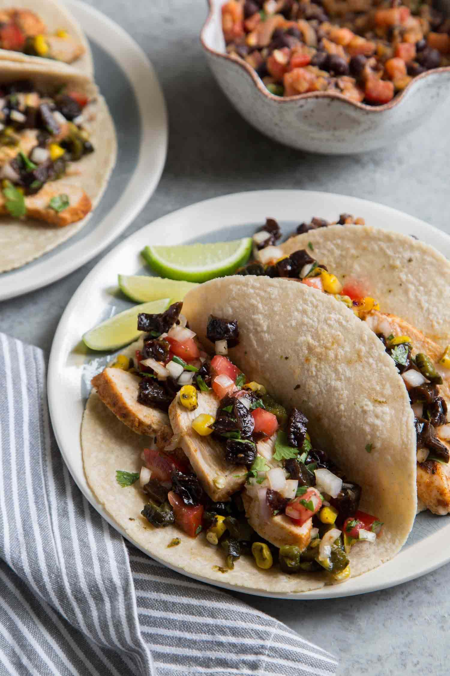 Chicken Tacos with California Prunes Salsa and Refried Black Beans