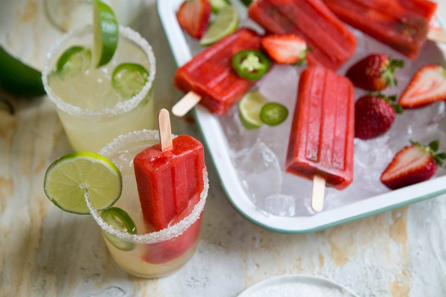 Strawberry Jalapeno Margarita Popsicles