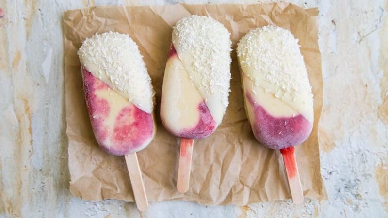 Raspberry Mango Coconut Pops