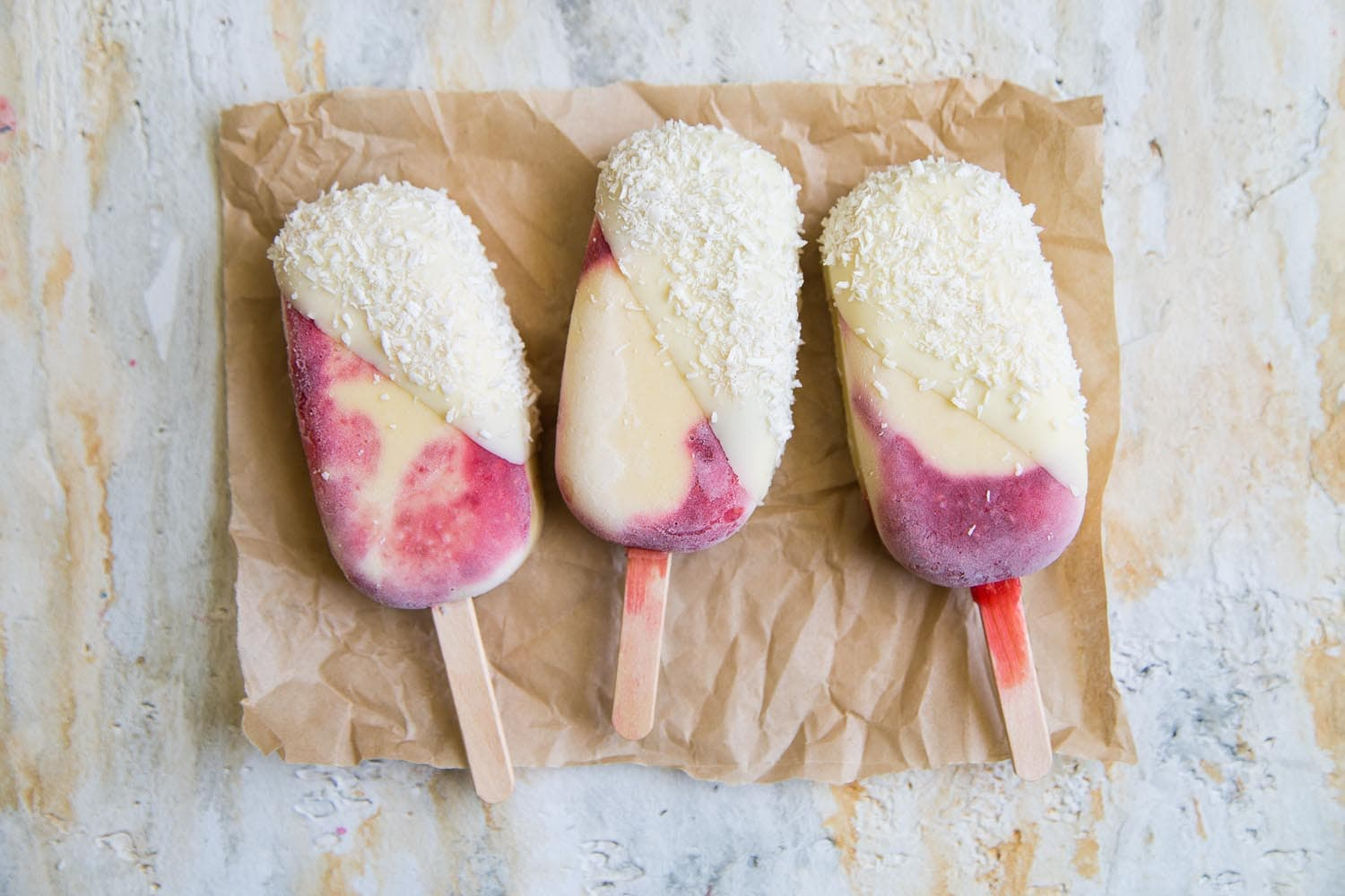 Raspberry Mango Coconut Pops