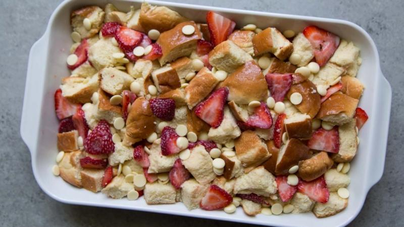 White Chocolate Strawberry Bread Pudding