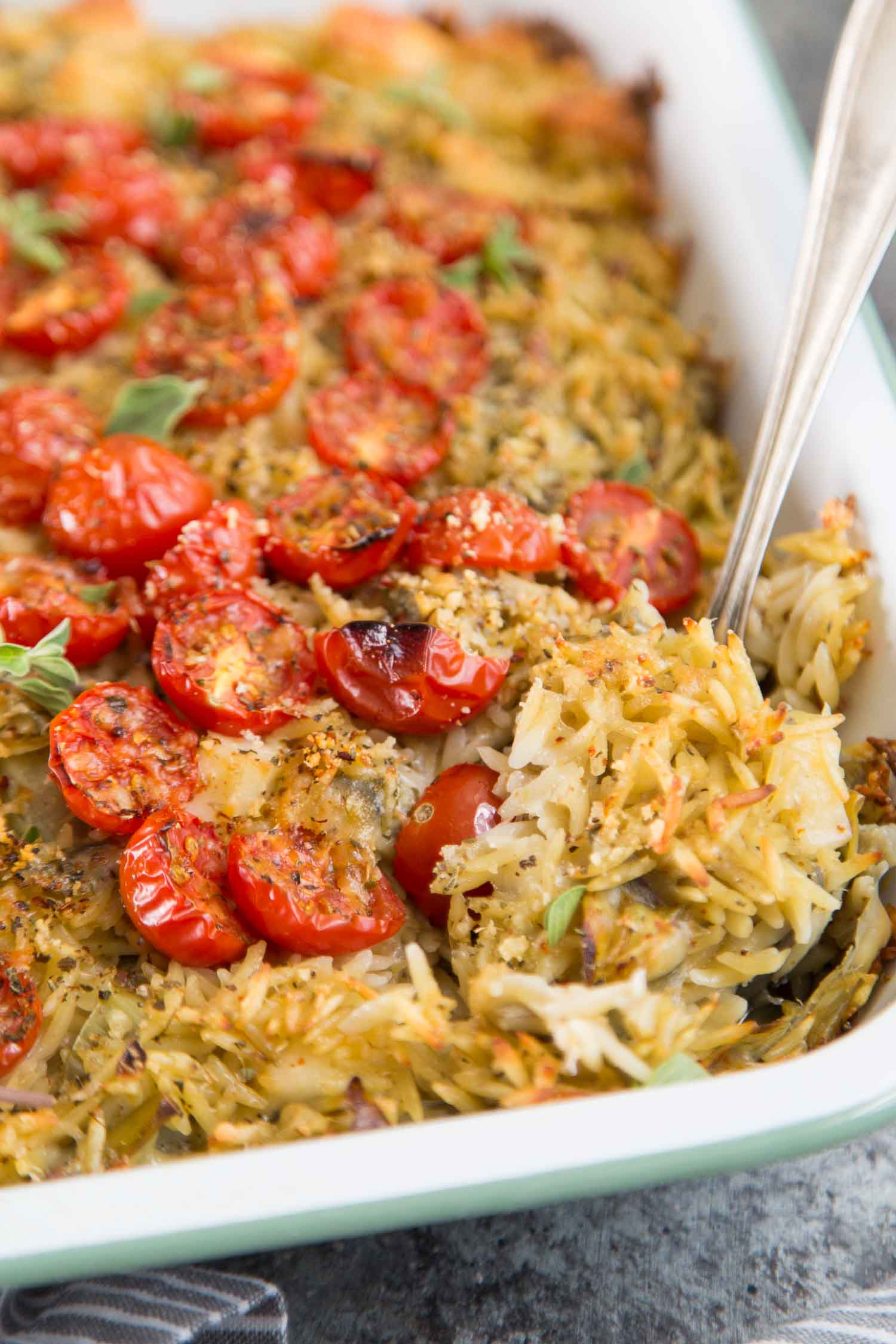 Baked Orzo with Artichokes, Tomatoes, and Halloumi