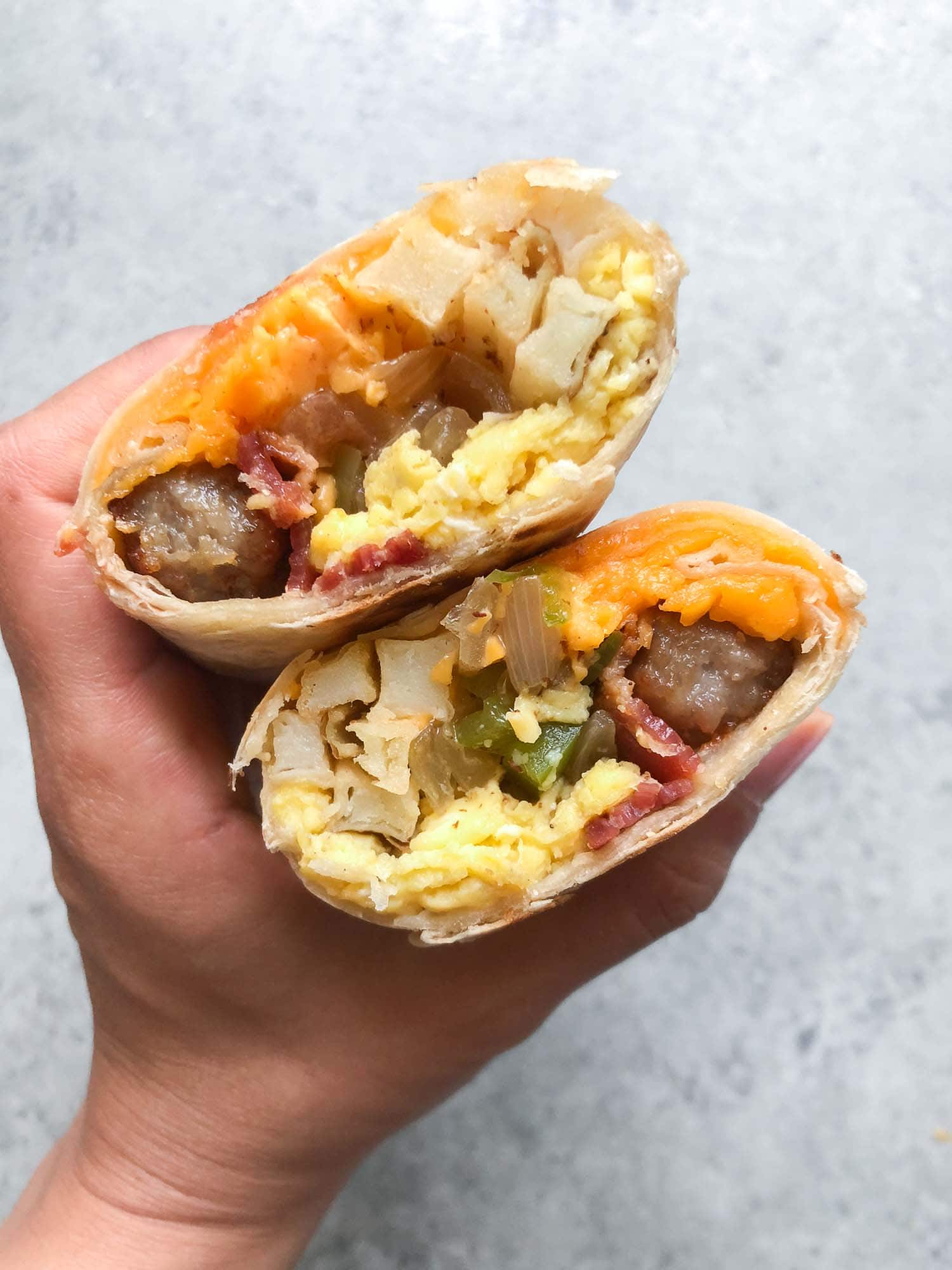 Sausage Bacon Breakfast Burritos with cheddar and fries (Make Ahead Frozen Breakfast Burritos)