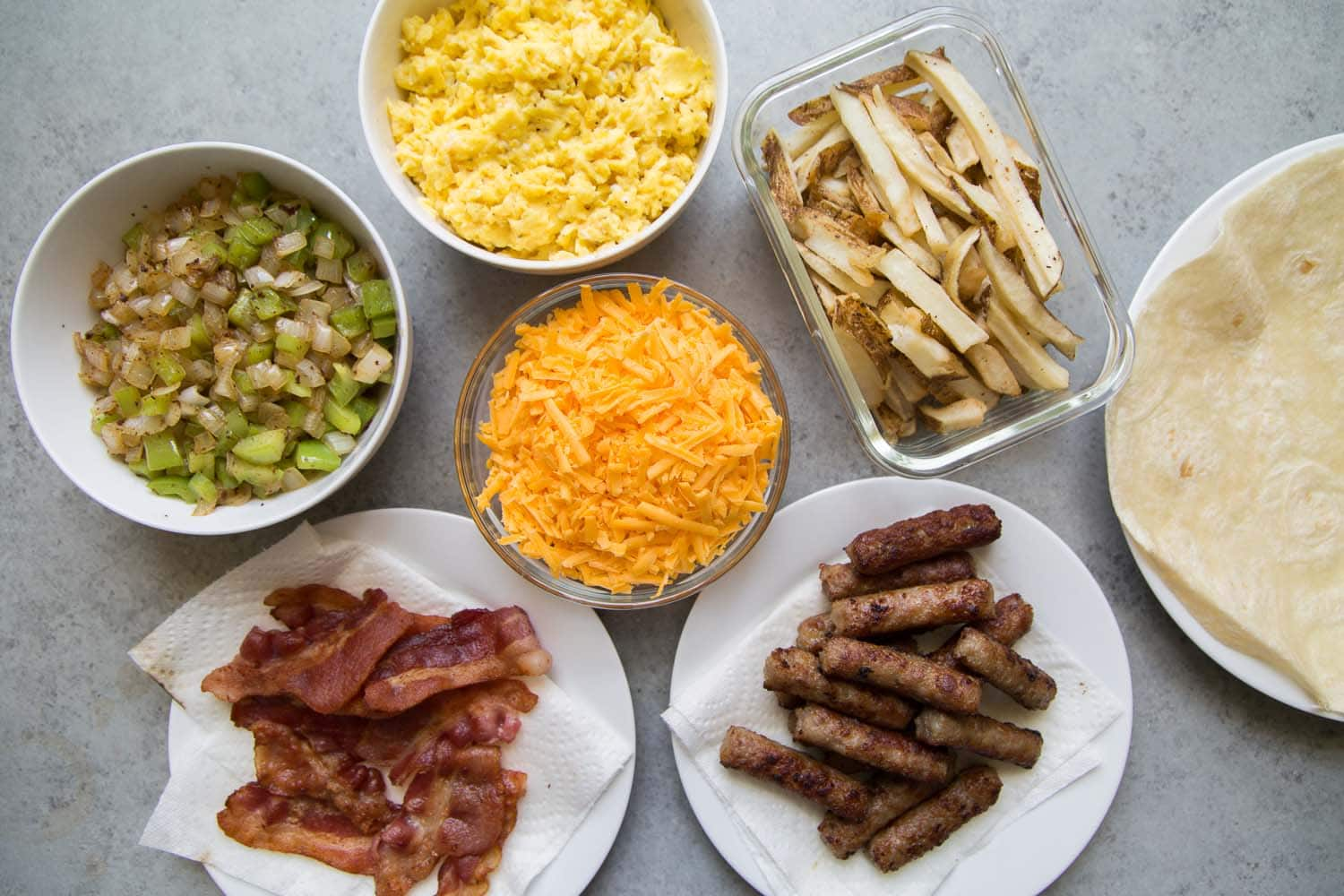 Ingredients for Sausage Bacon Breakfast Burrito