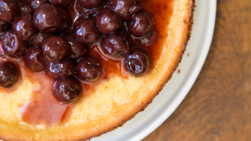 Ricotta Cheesecake Brandied Cherries
