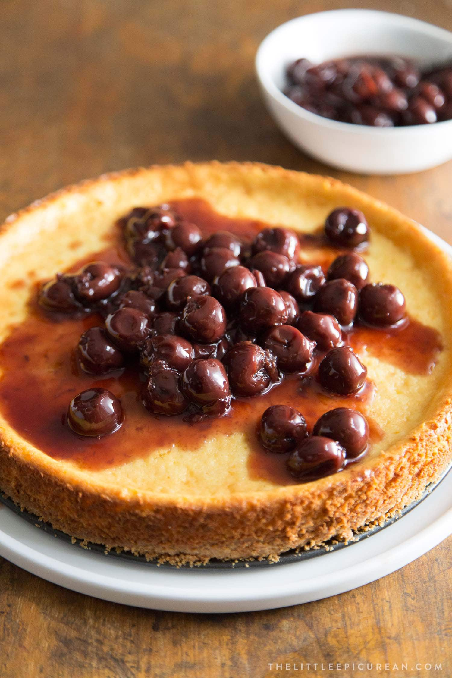 Ricotta cheesecake with brandied cherries topping