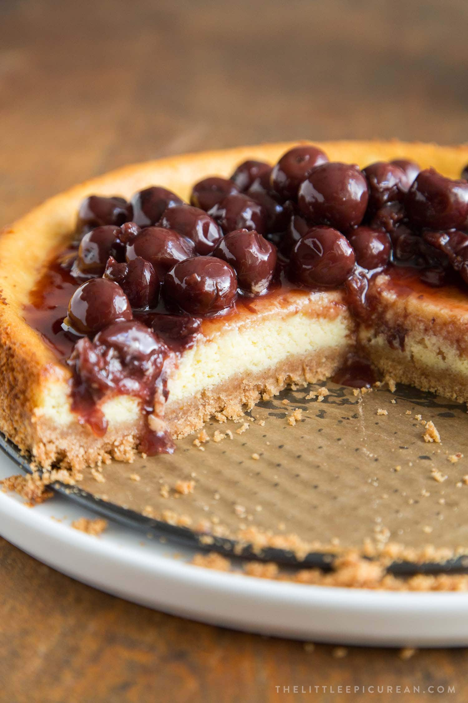 Ricotta Cheesecake with Brandied Cherries