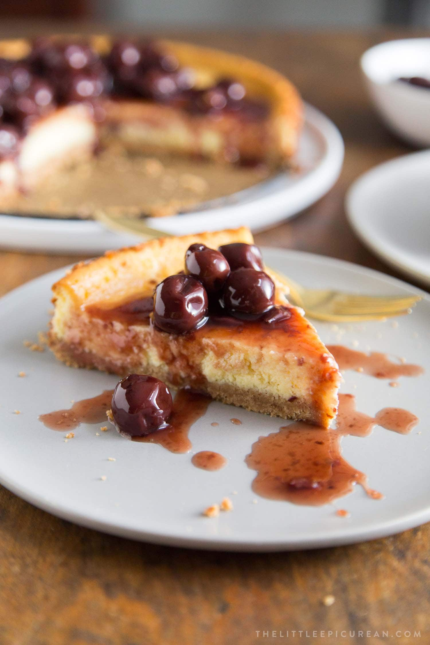 Brandied Cherries Ricotta Cheesecake Slice