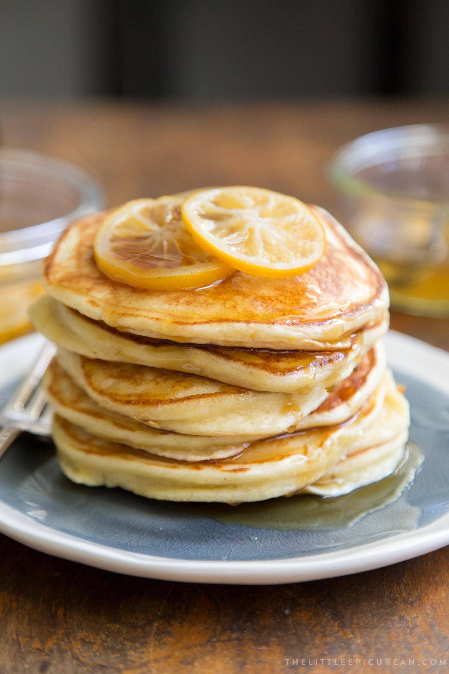 Meyer Lemon Ricotta Pancakes Stack
