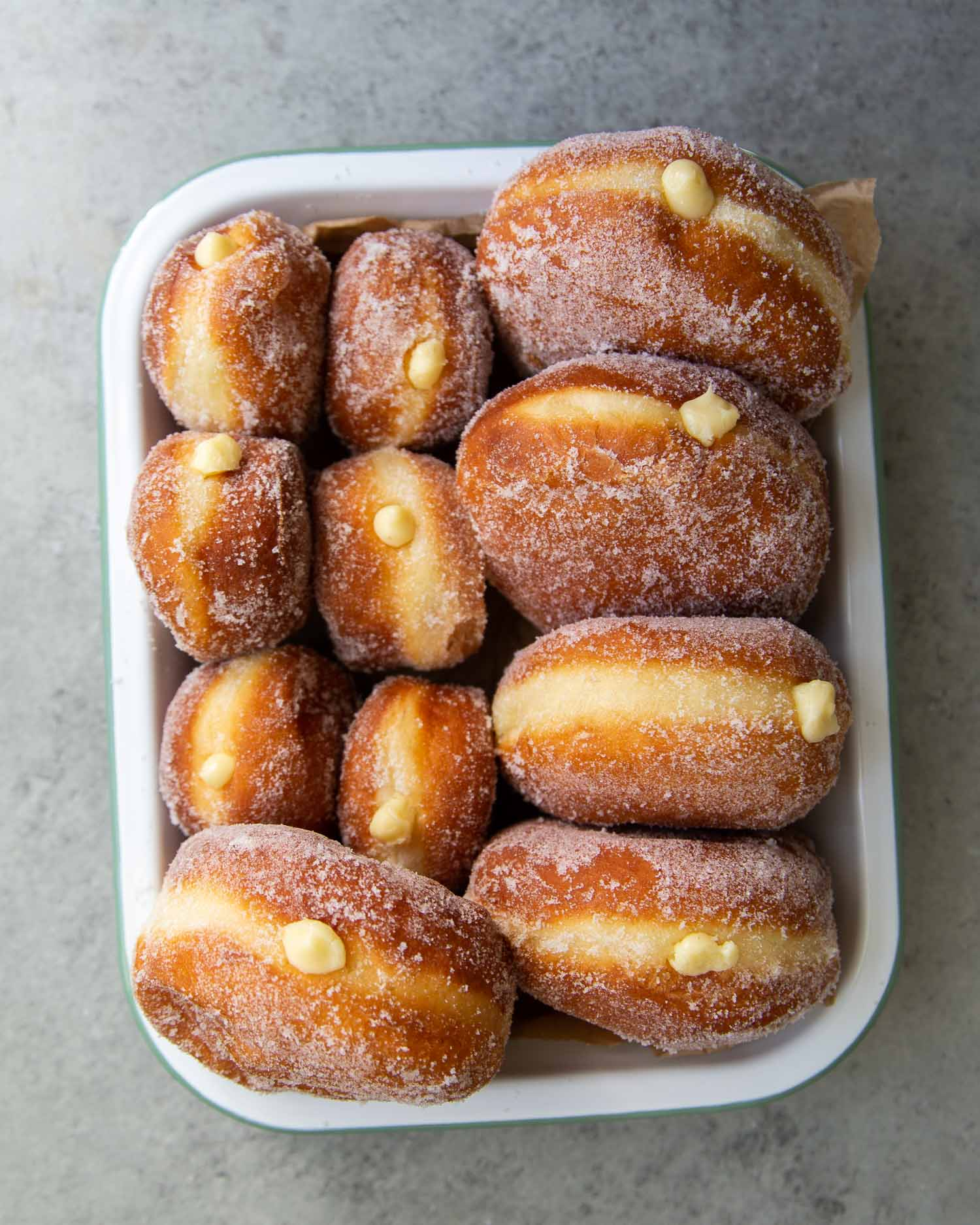 Pastry Cream Filled Donuts.